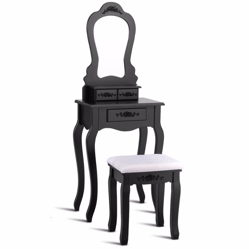Black Wood Makeup Vanity Table Stool Set