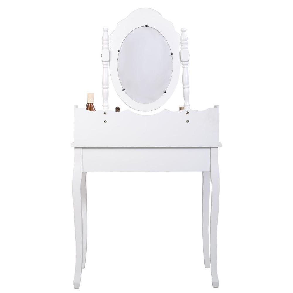 3 Drawer White Vanity and Stool Set