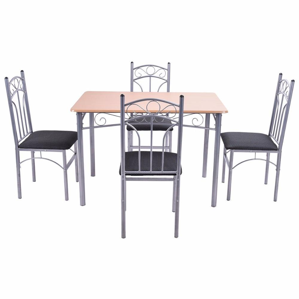 5 Piece Wood And Metal Dining Room Set