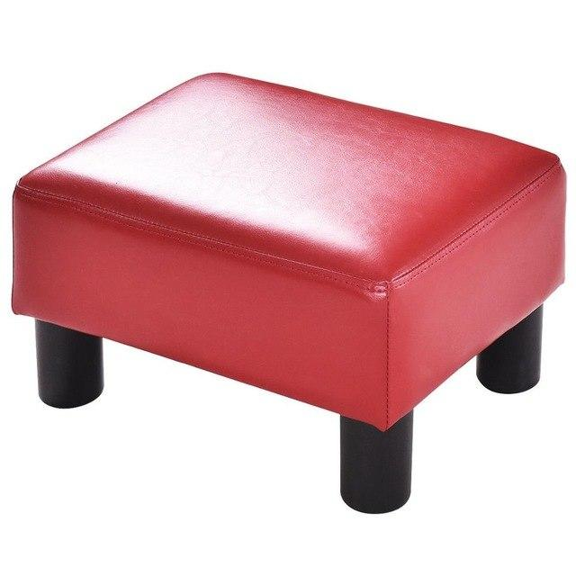 Small Rectangle PU Leather Footstool