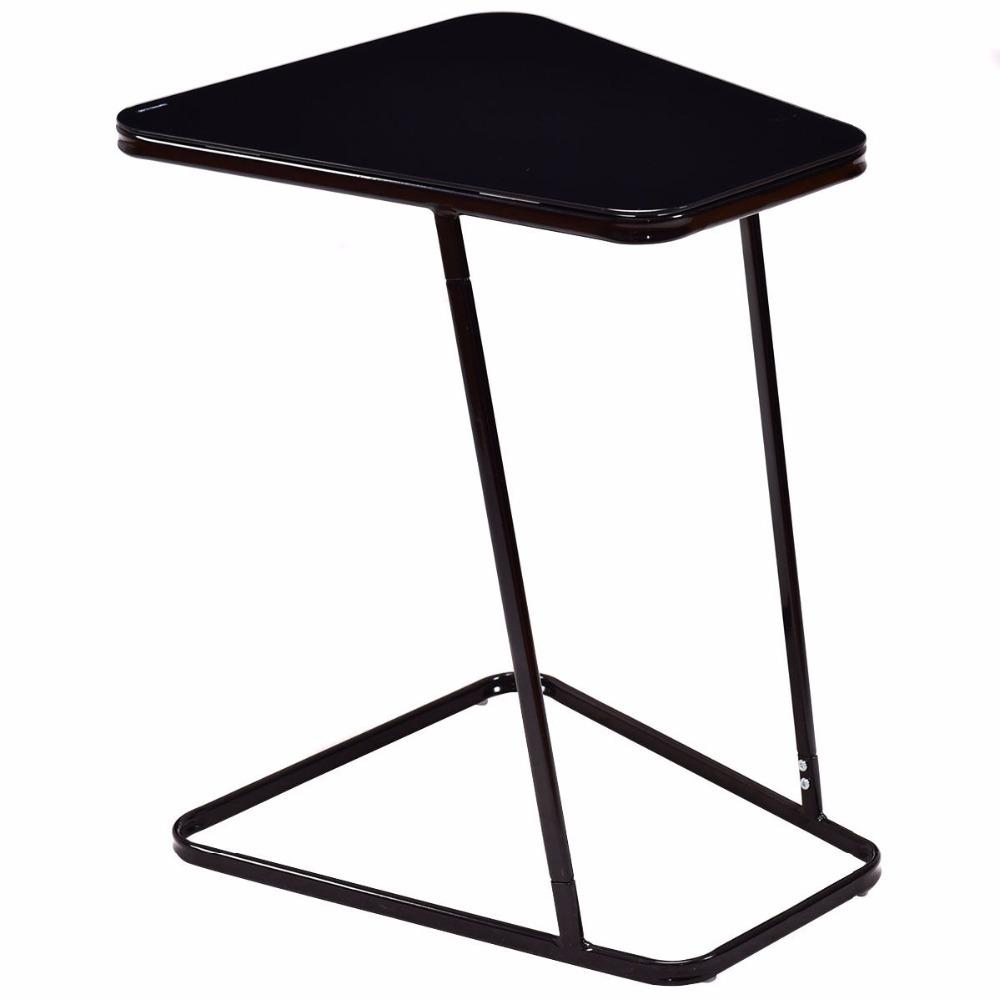 Black Modern Glass Top End Table Table