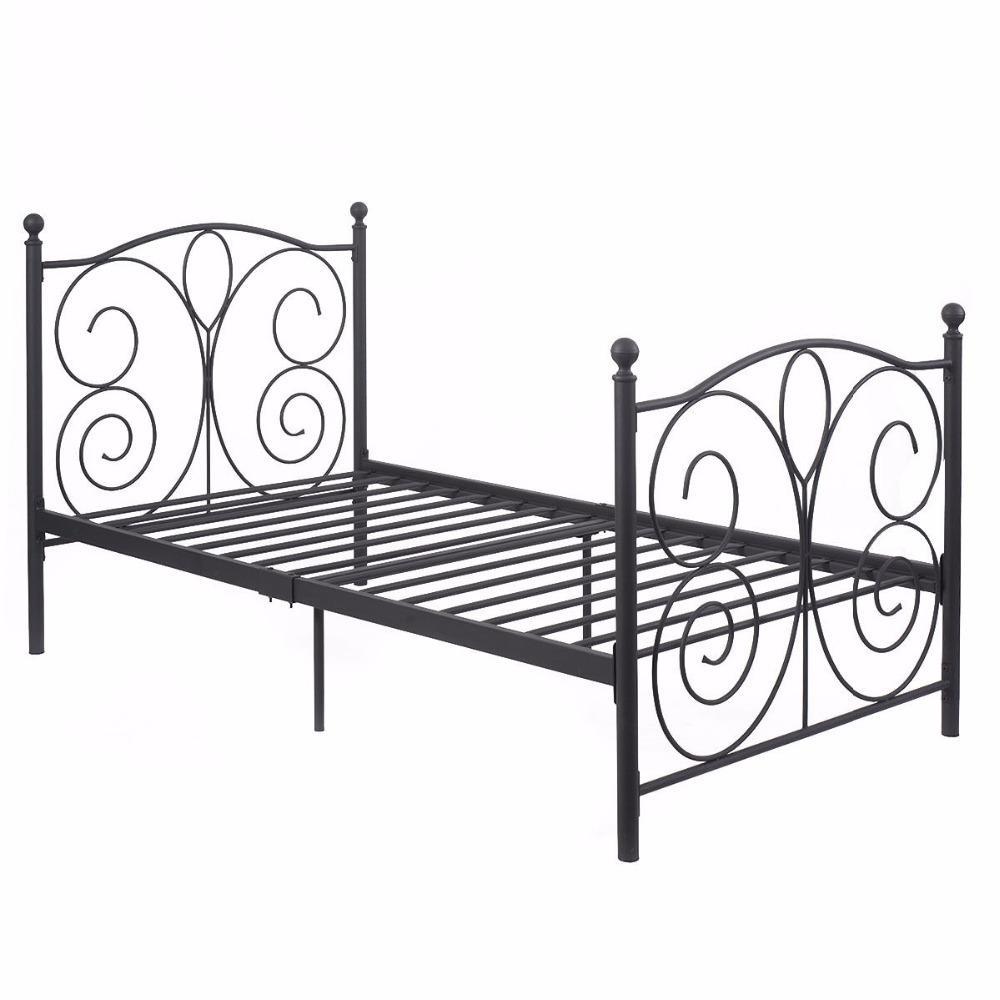 Black Steel Twin Size Metal Bed Frame