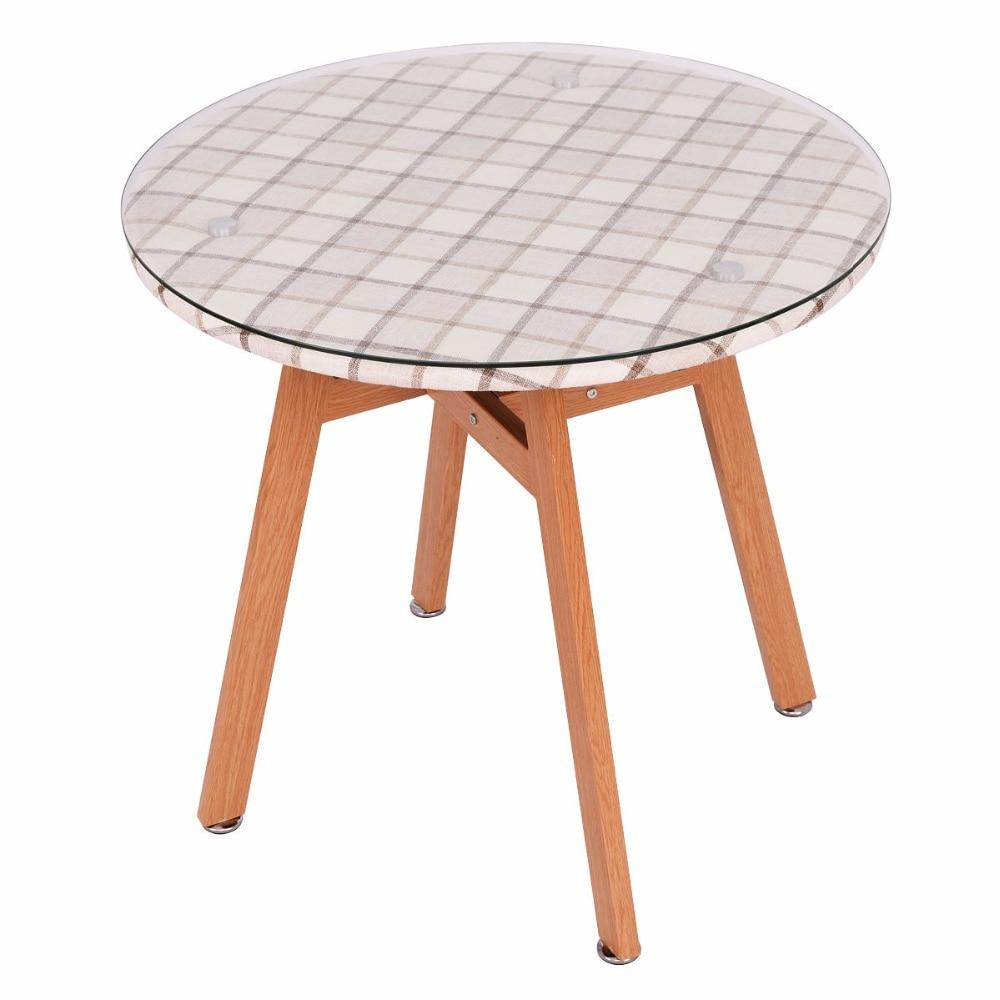Round Steel Frame Tempered Glass Dining Table