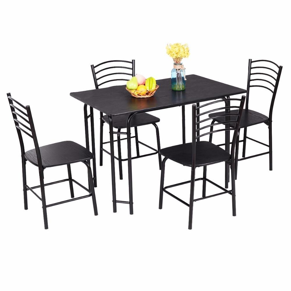 5 Piece Black Modern Dining Set