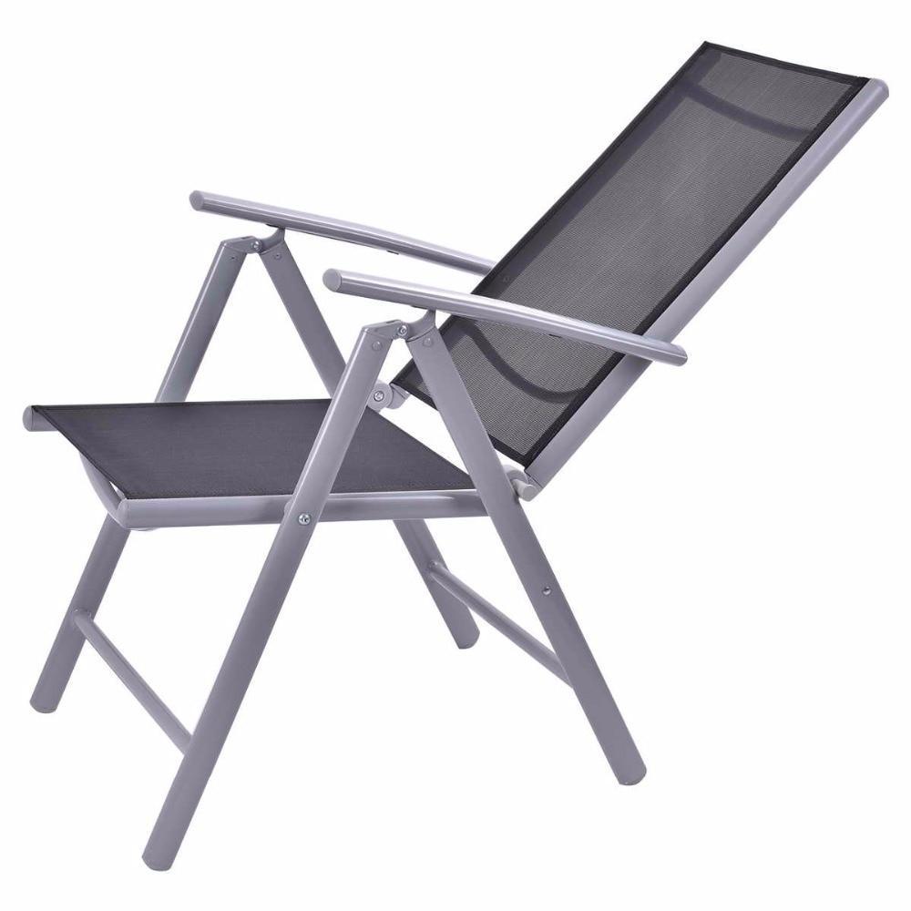 2 Piece Outdoor Patio Adjustable  Folding Reclining Chair