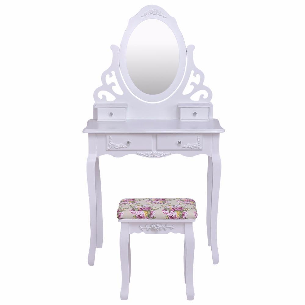 Elegant White Wood Vanity Table Stool Set