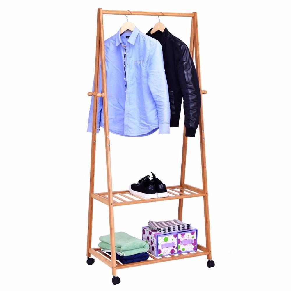 Portable Rolling Bamboo Garment Organizer