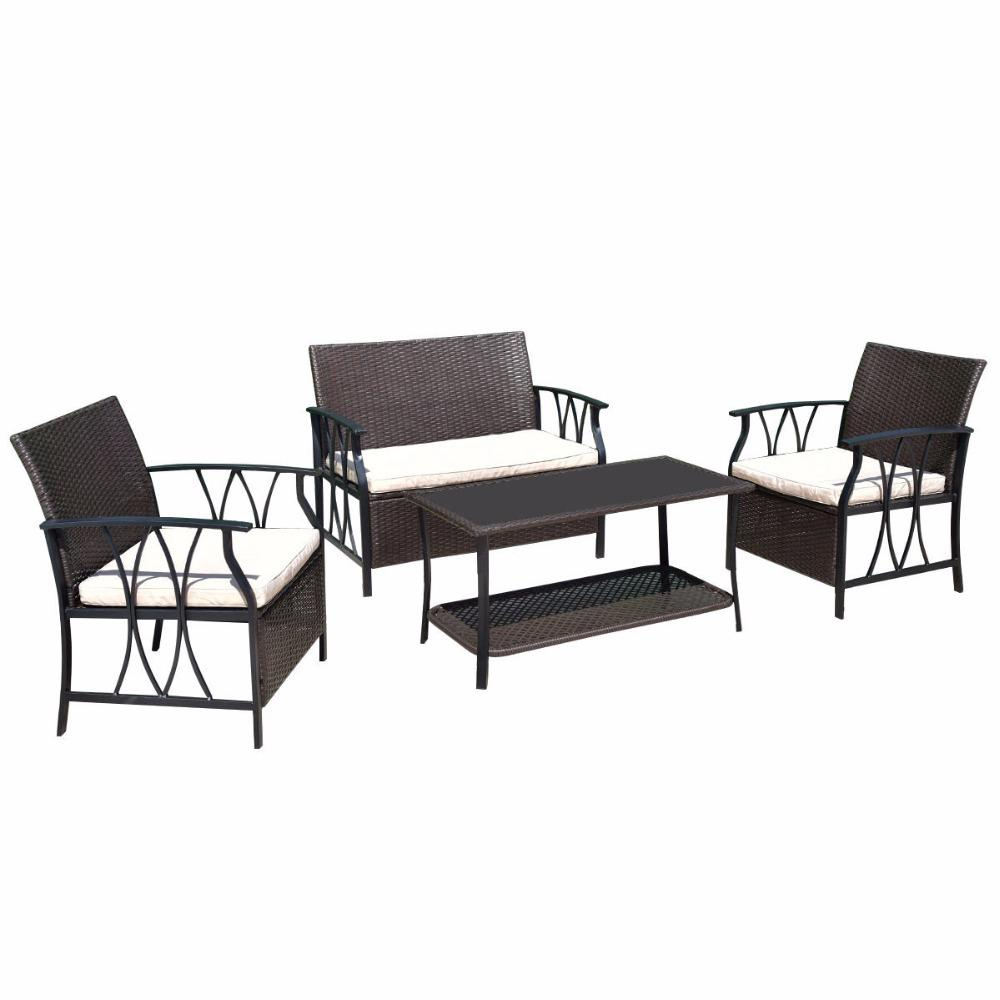 4 Piece Outdoor Sectional Patio Furniture Set