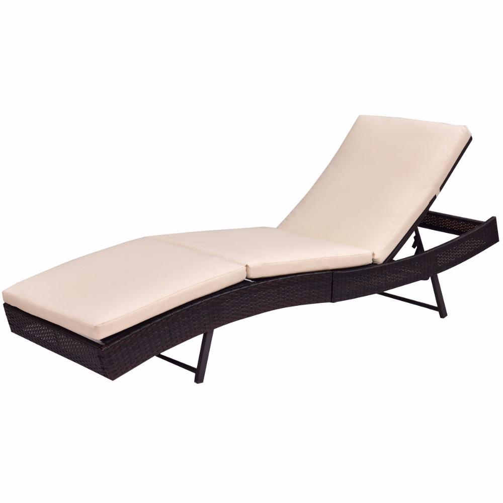 Adjustable Wicker Pool Sun Bed Lounge Chair