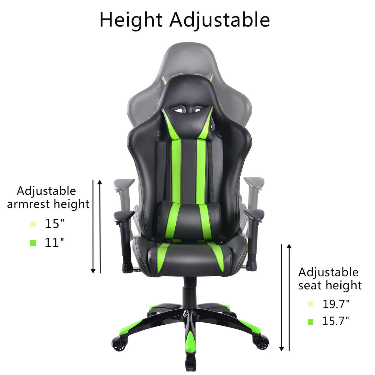 Black & Lime Green Stripes High Back Executive Sports Car Gaming Chair