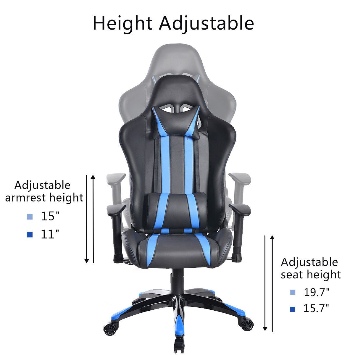 Black & Blue Stripe Reclining High Back Sports Car Gaming Chair