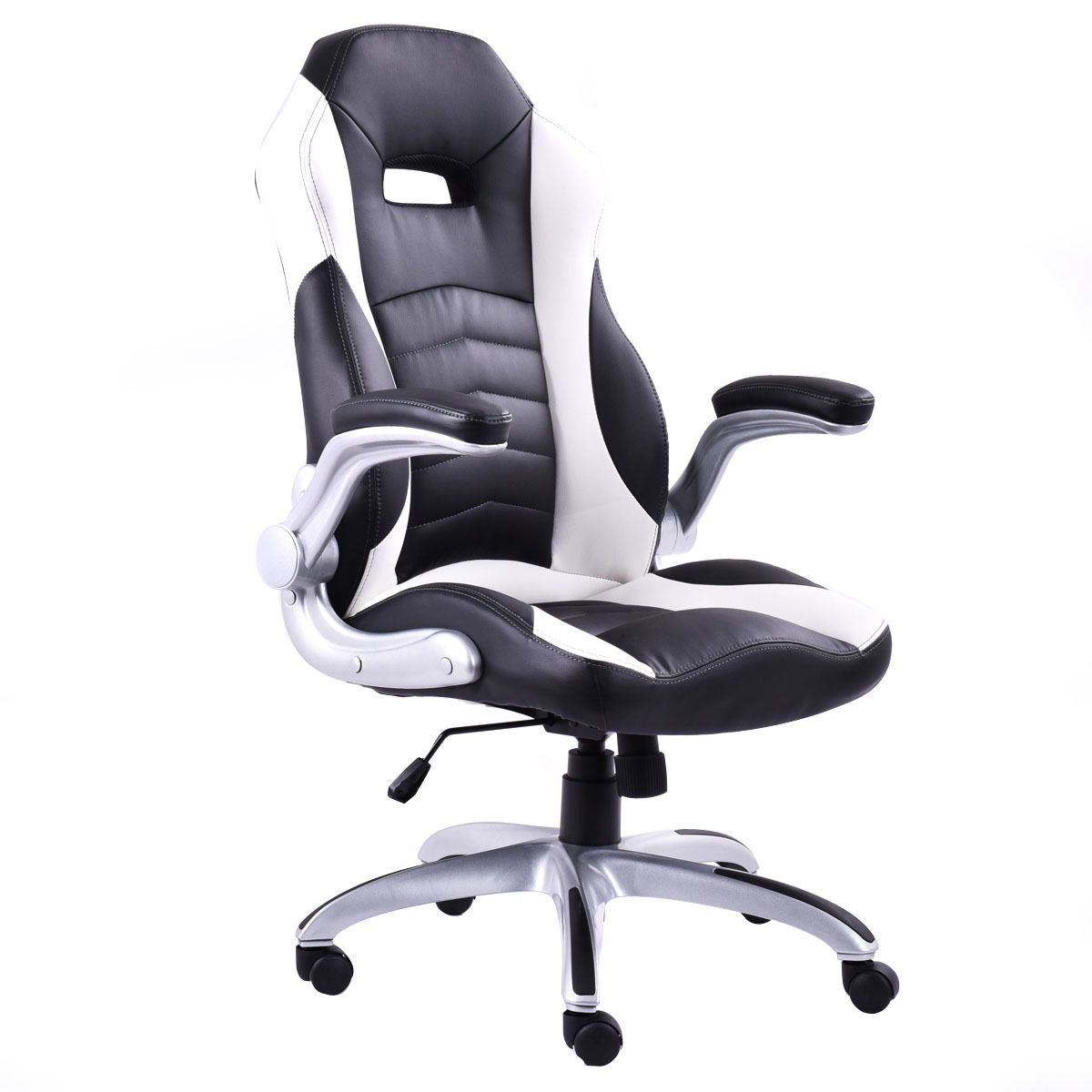 Black & White PU Leather Executive Racing Style Bucket Seat Chair