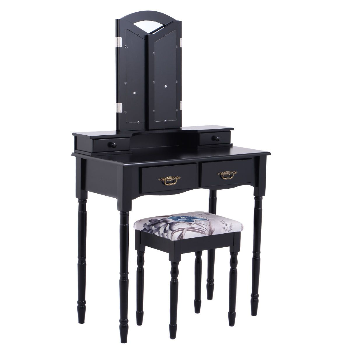 Black Wide Tri-Folding Mirror Vanity Table Set