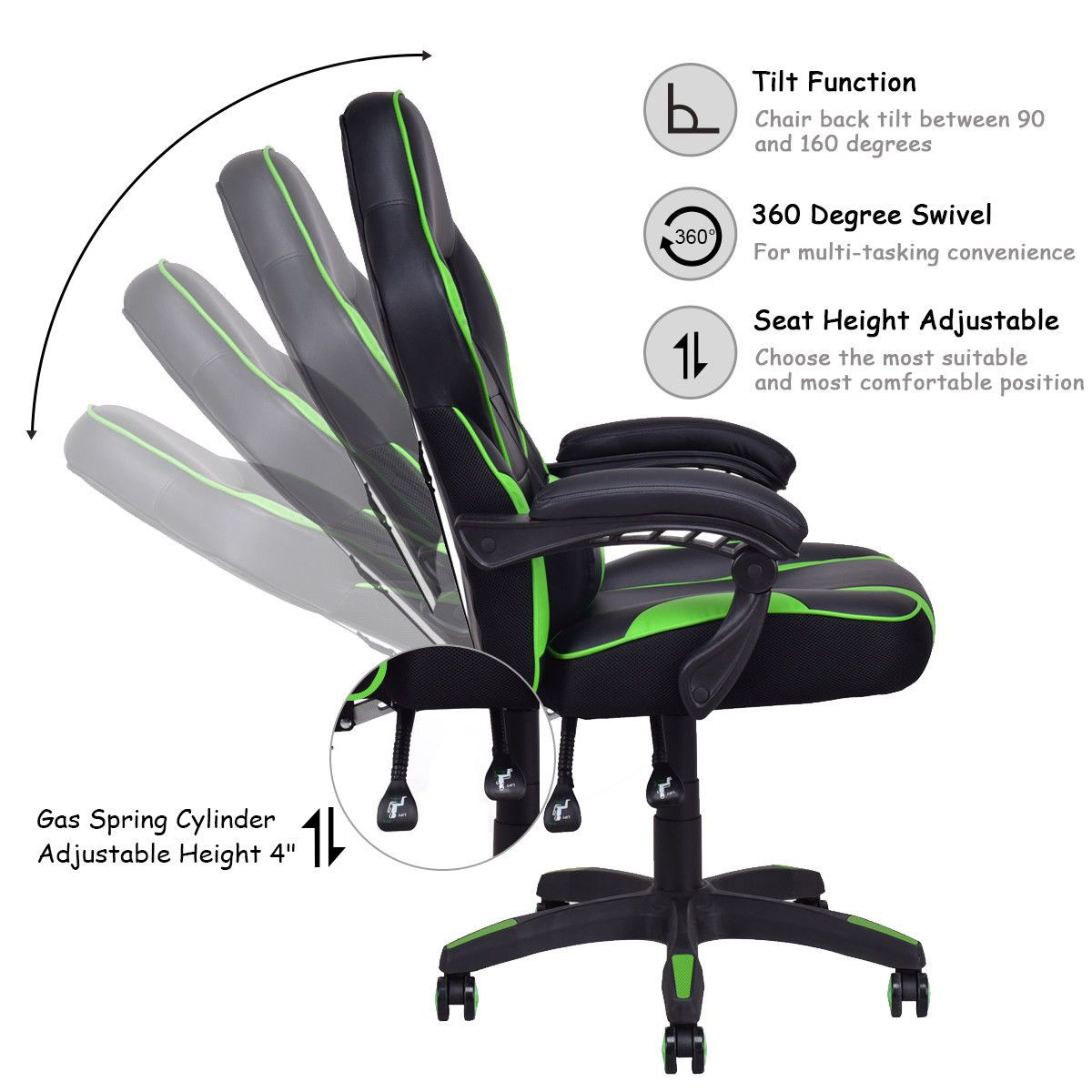 Black & Green PU Leather Modern Executive Racing Style Chair