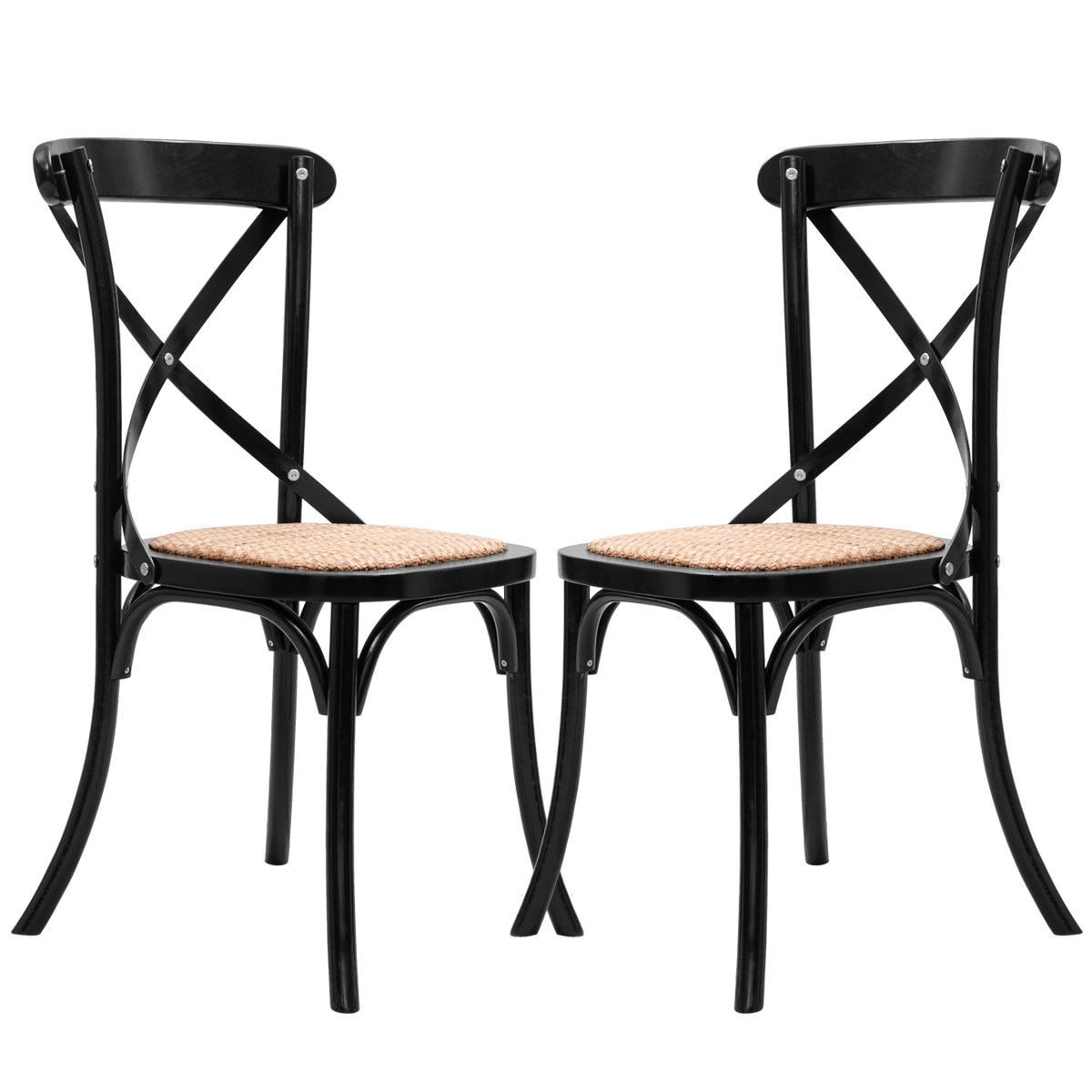 2 Piece Solid Wood & Rattan Cross Back Dining Chair