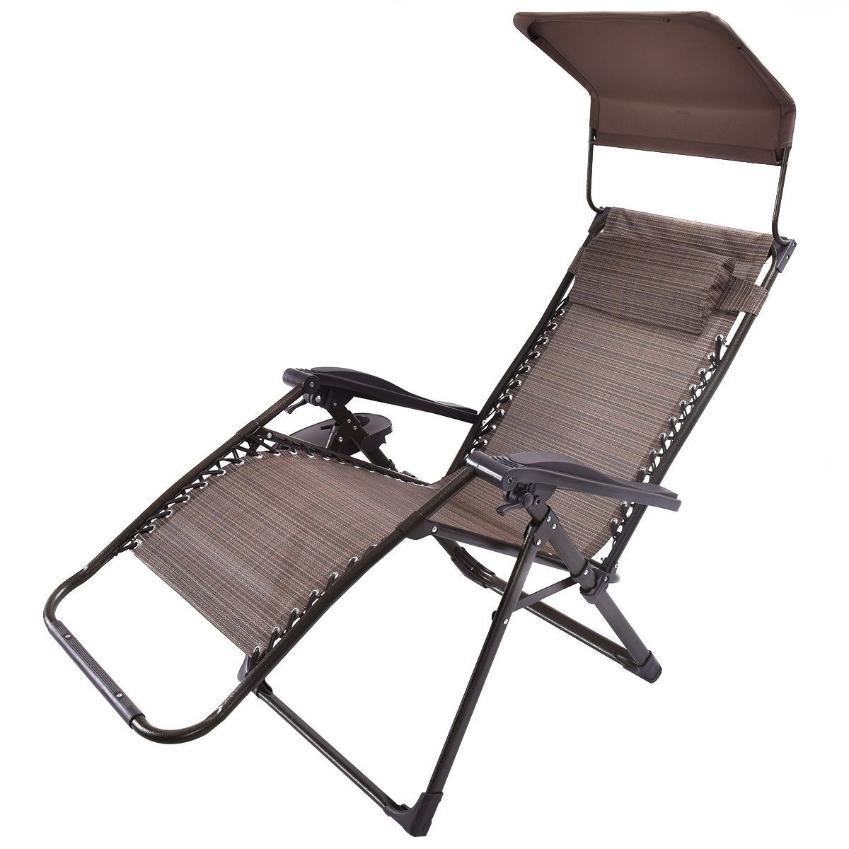 Folding Zero Gravity Reclining Outdoor Chair With Canopy
