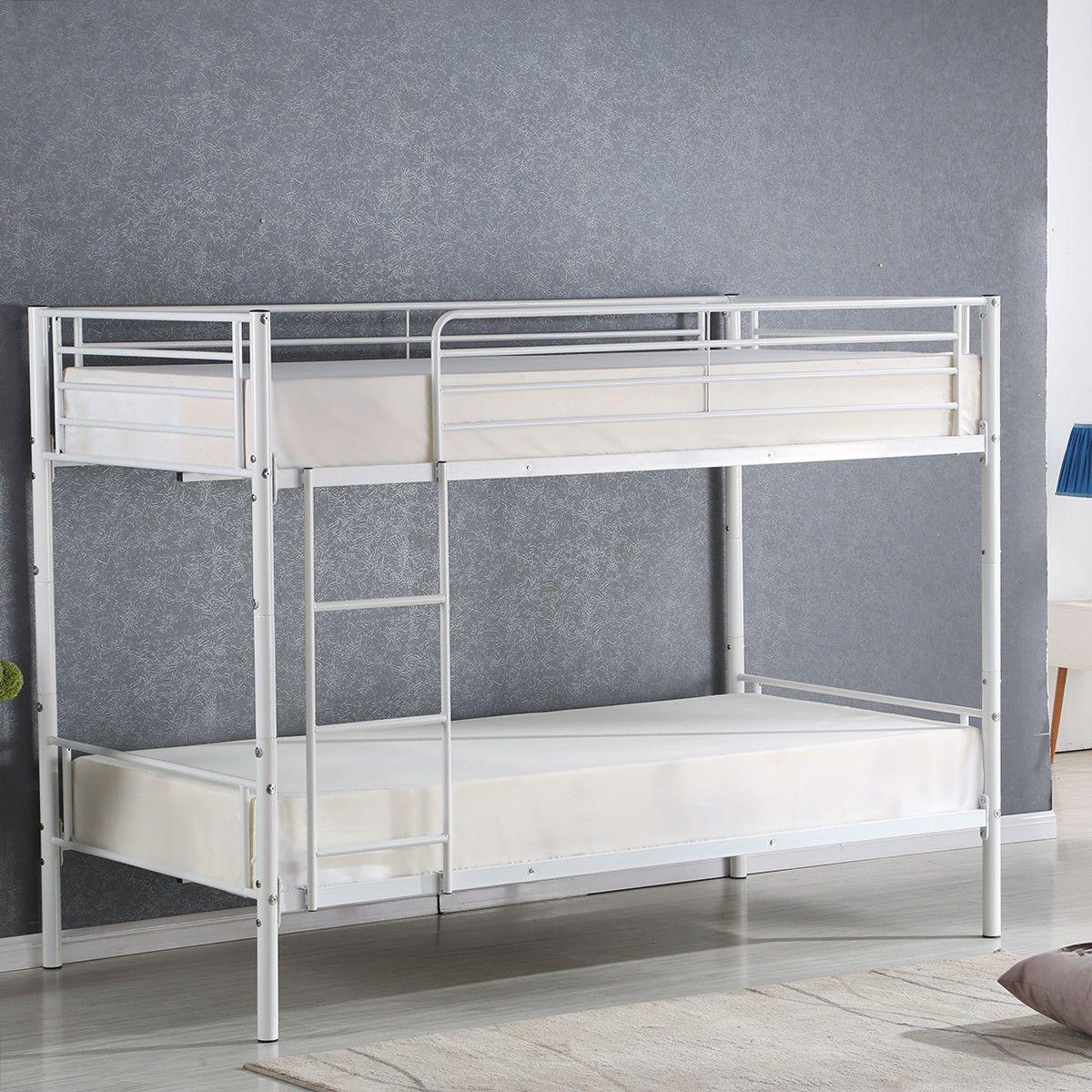 Modern Metal Twin Over Twin Bunk Bed
