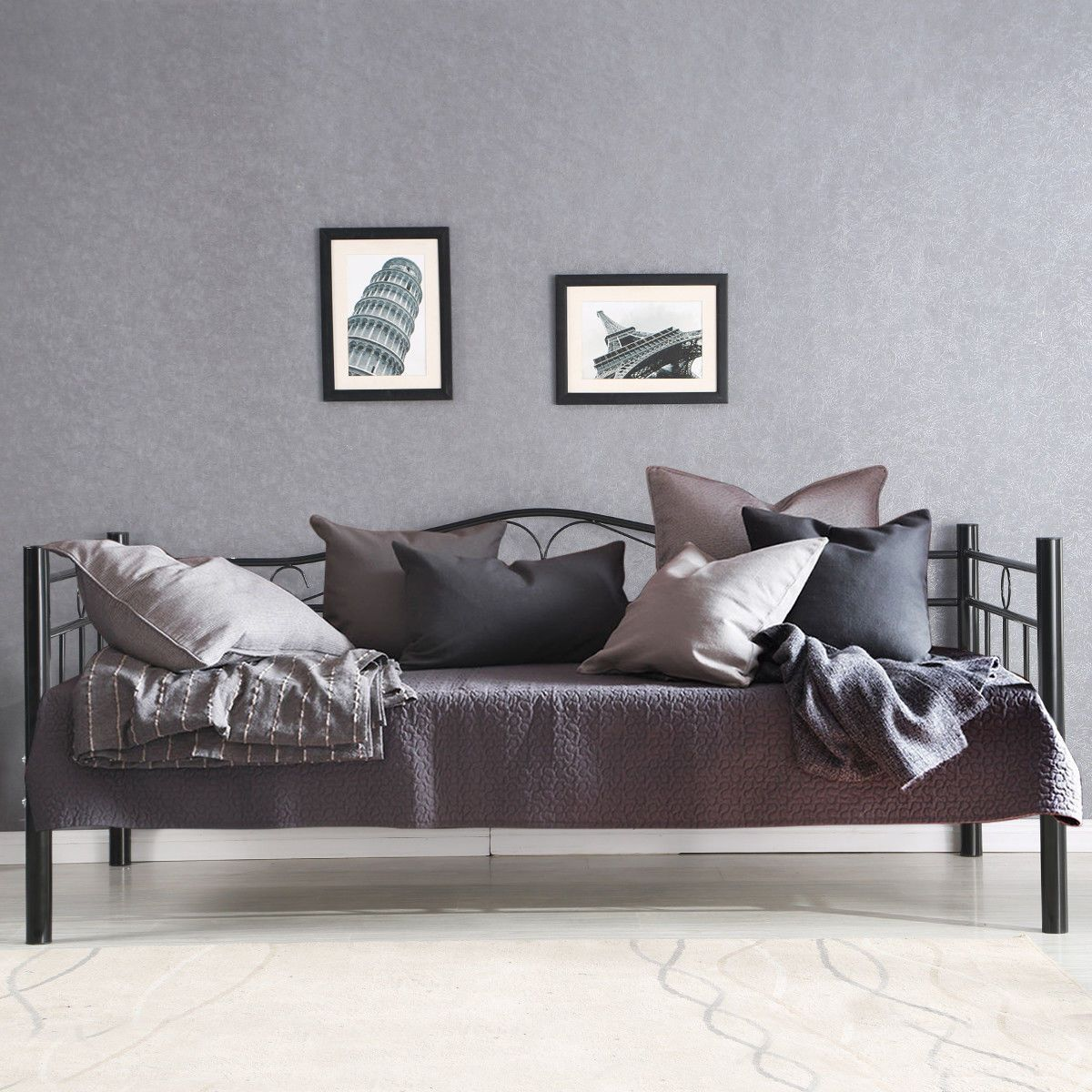 Modern Metal Steel Twin Size Daybed Frame