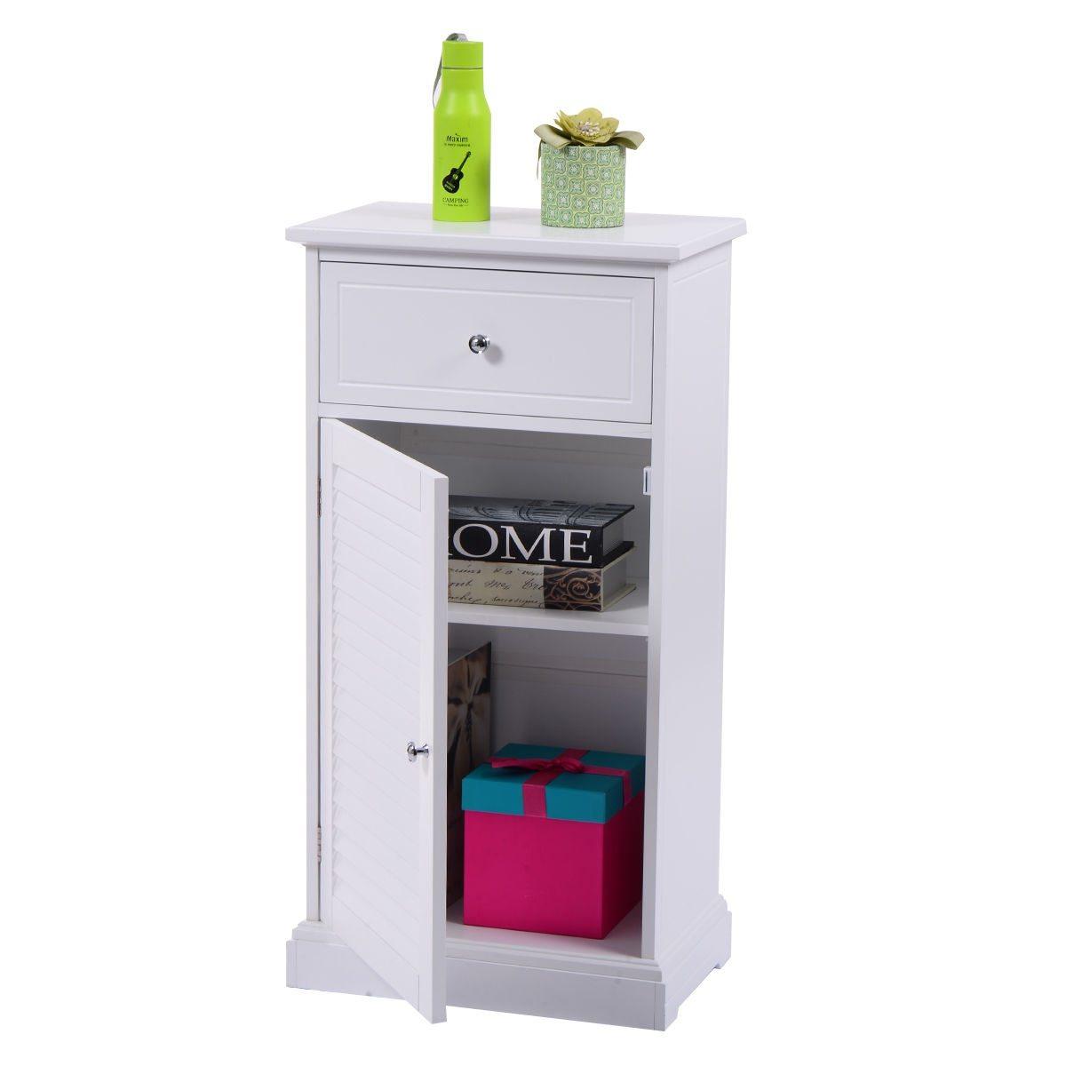White Modern Storage Floor Cabinet