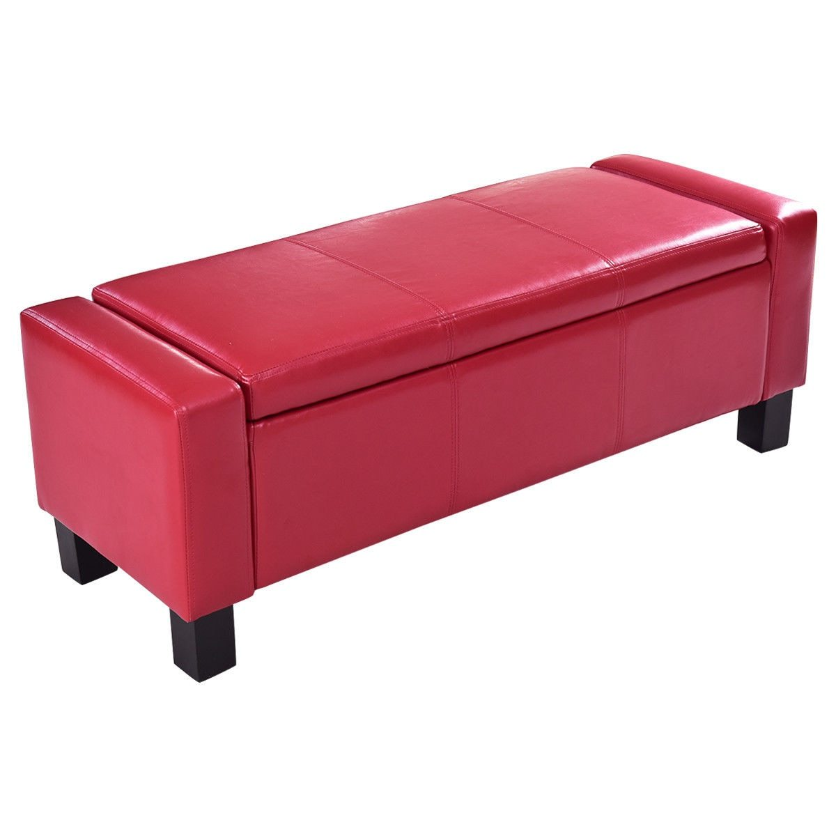 43″ Red PU Leather Ottoman