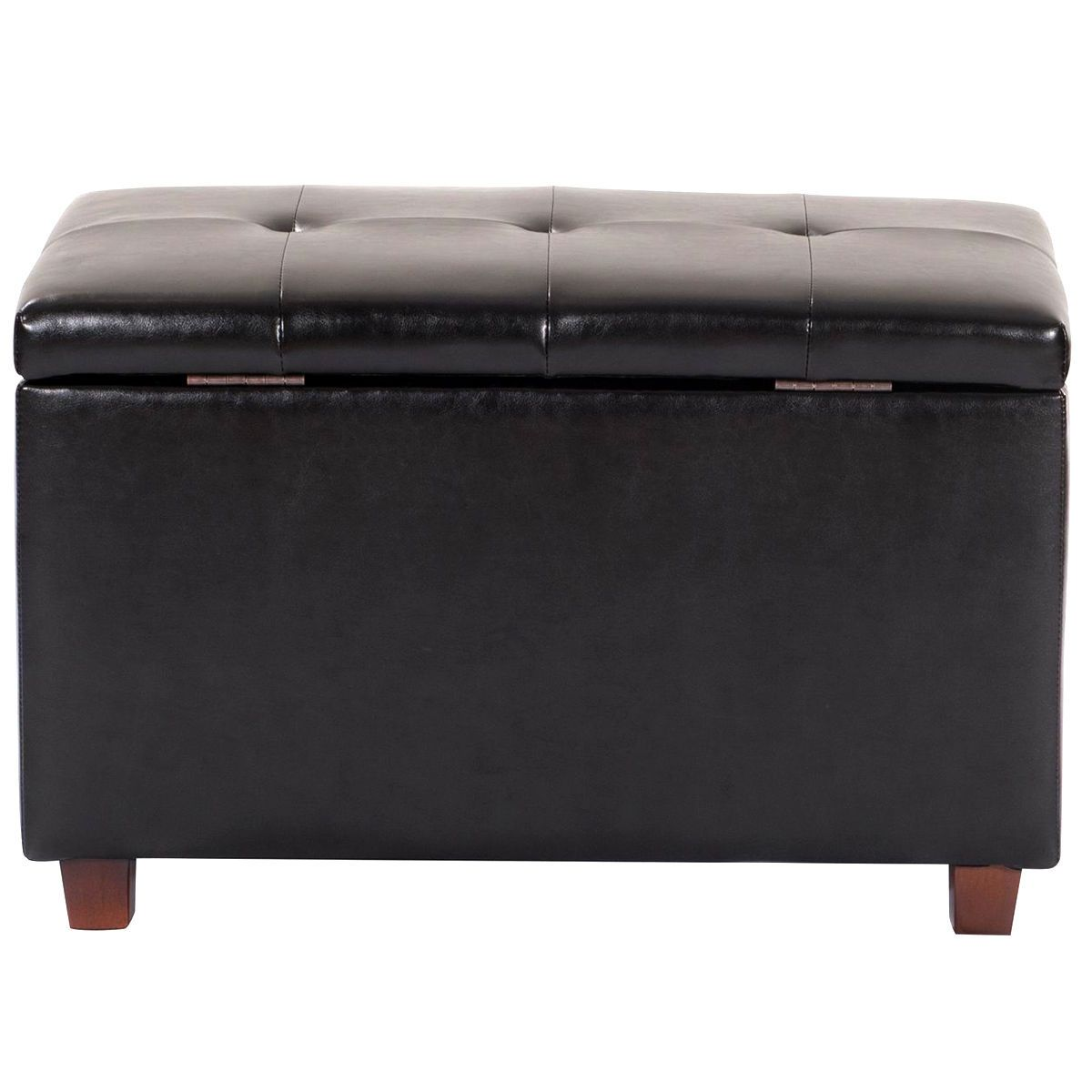 Black Tufted Lift Top Ottoman Bench