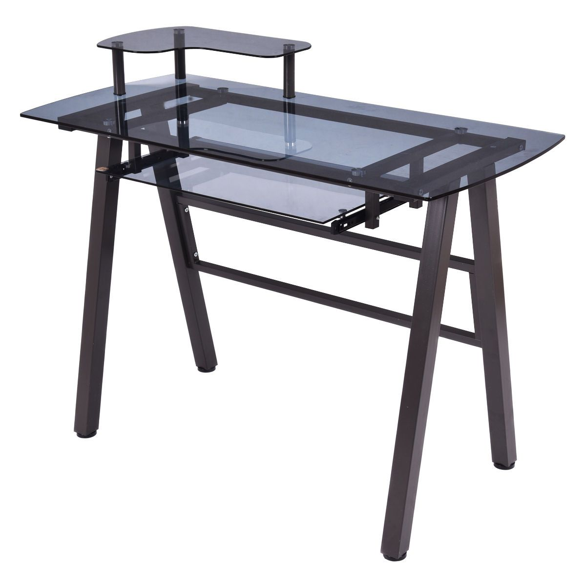 Black Modern Glass Top Computer Desk