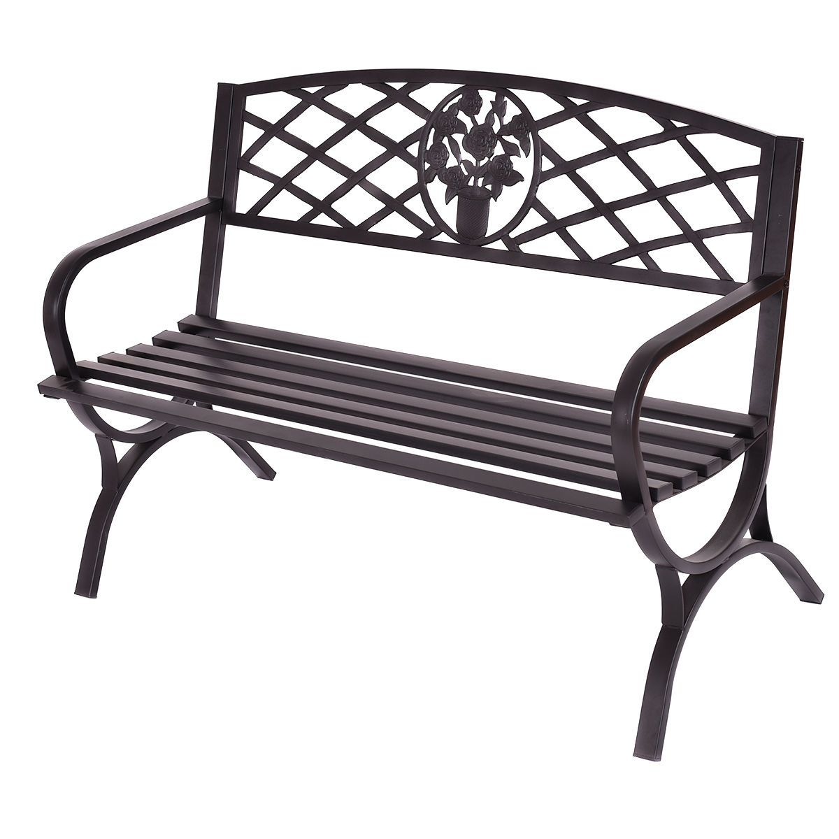 Outdoor Steel Frame Patio New York Park Style Bench
