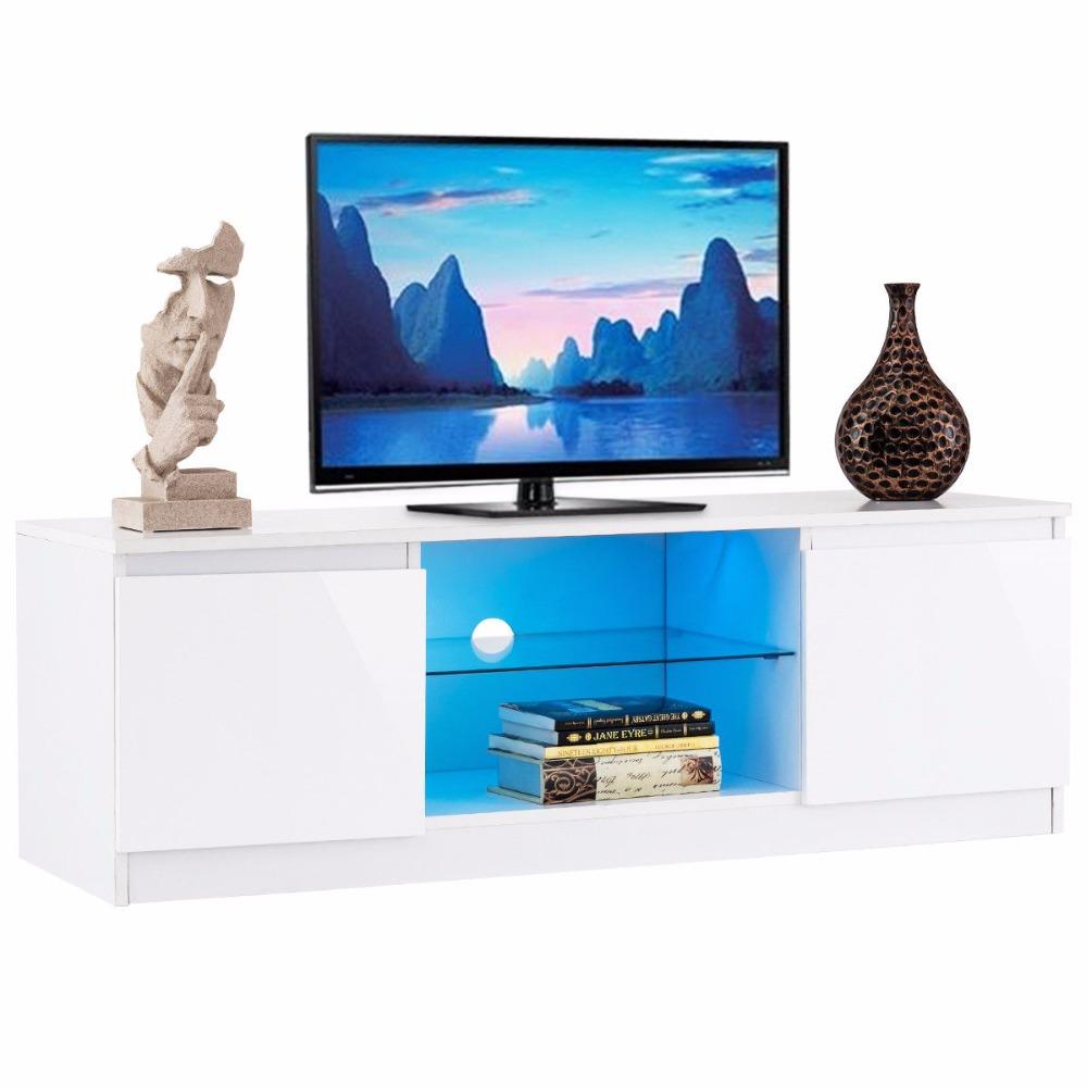 White LED TV Stand