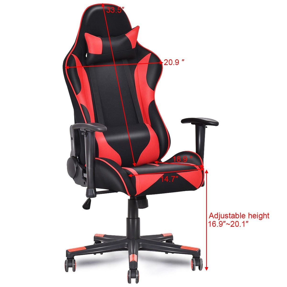 Black & Red Ergonomic Racing Style Gaming Chair