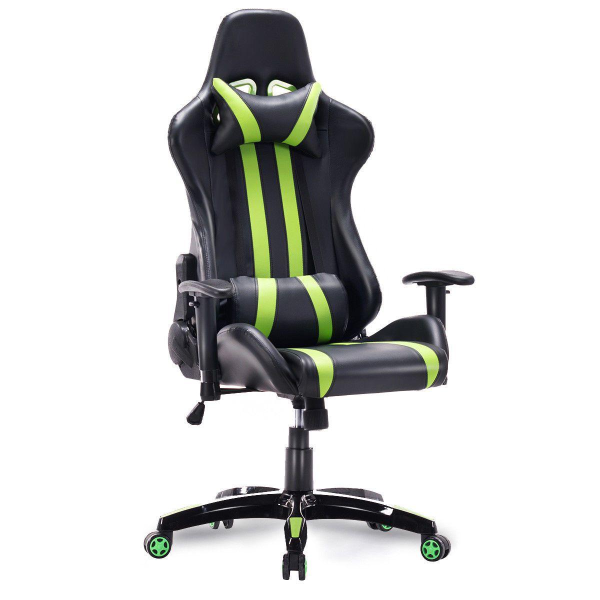 Black & Green Stripes High Back Executive Sports Car Gaming Chair