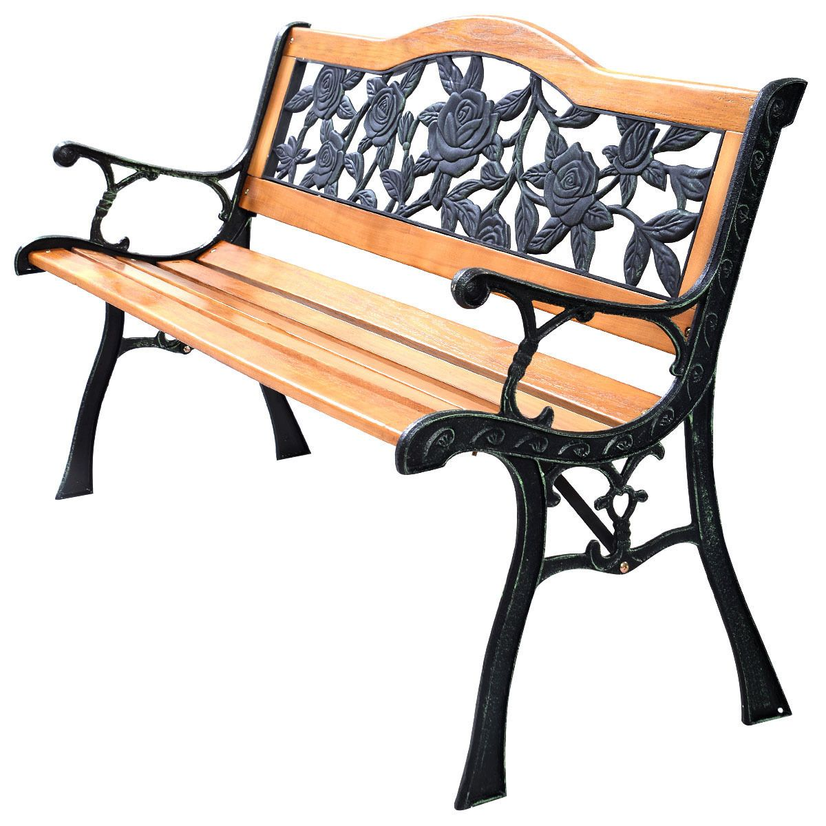 Cast Iron Hardwood Patio Porch Bench