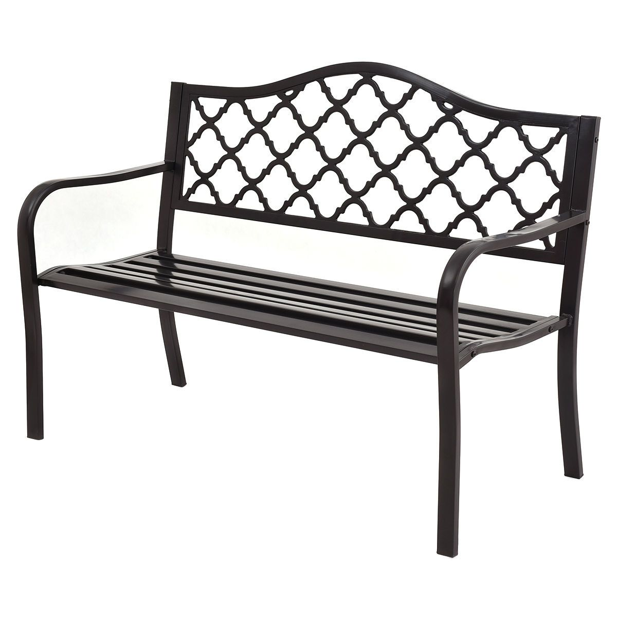 Outdoor Black Cast Iron Frame Patio Bench