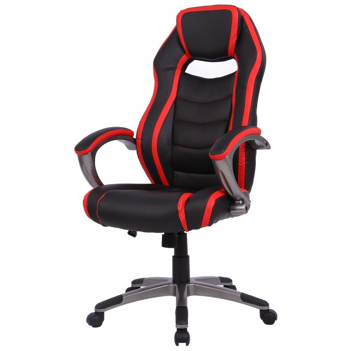 Black & Red Stripe High Back Bucket Seat Race Car Style Chair
