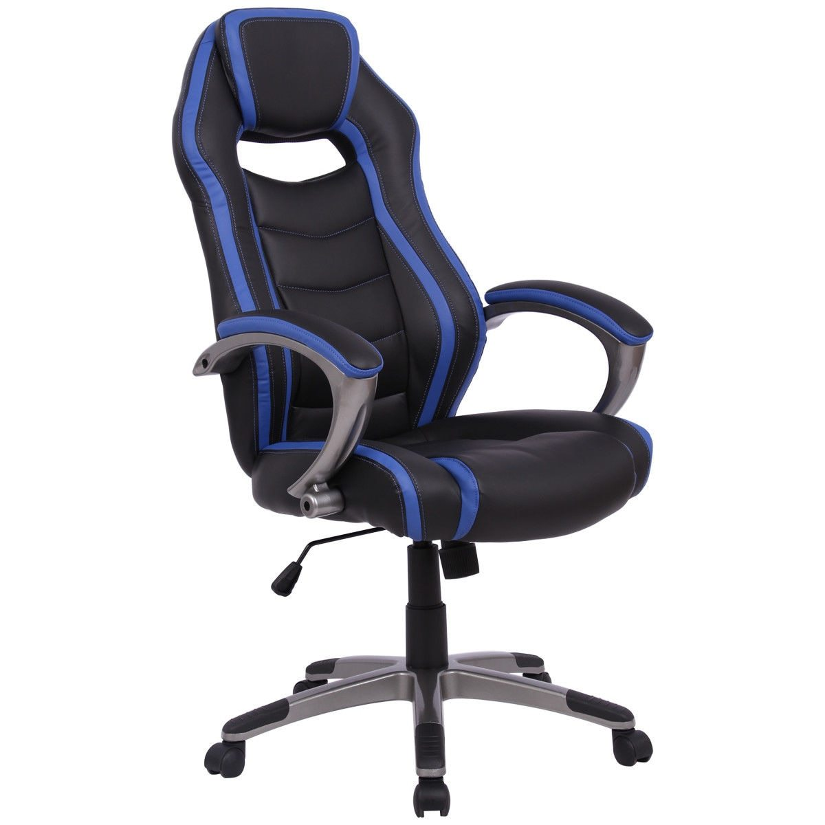 Black & Blue Stripe High Back Bucket Seat Race Car Style Chair