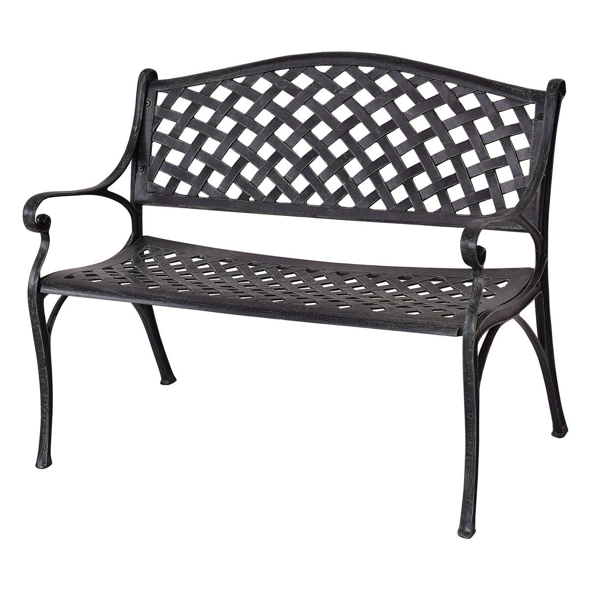 Outdoor Antique Aluminum Metal Frame Patio Bench