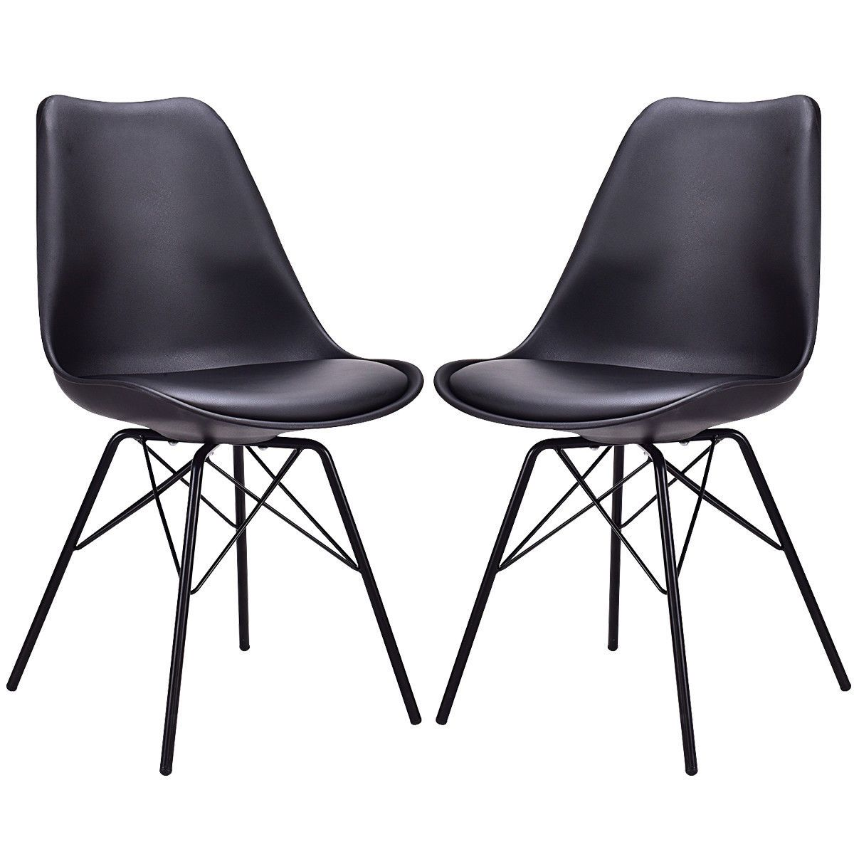 2 Piece Black Upholstered Armless Dining Chairs