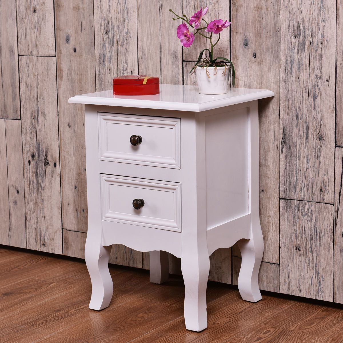 White Curved Legs Accent Side End Table