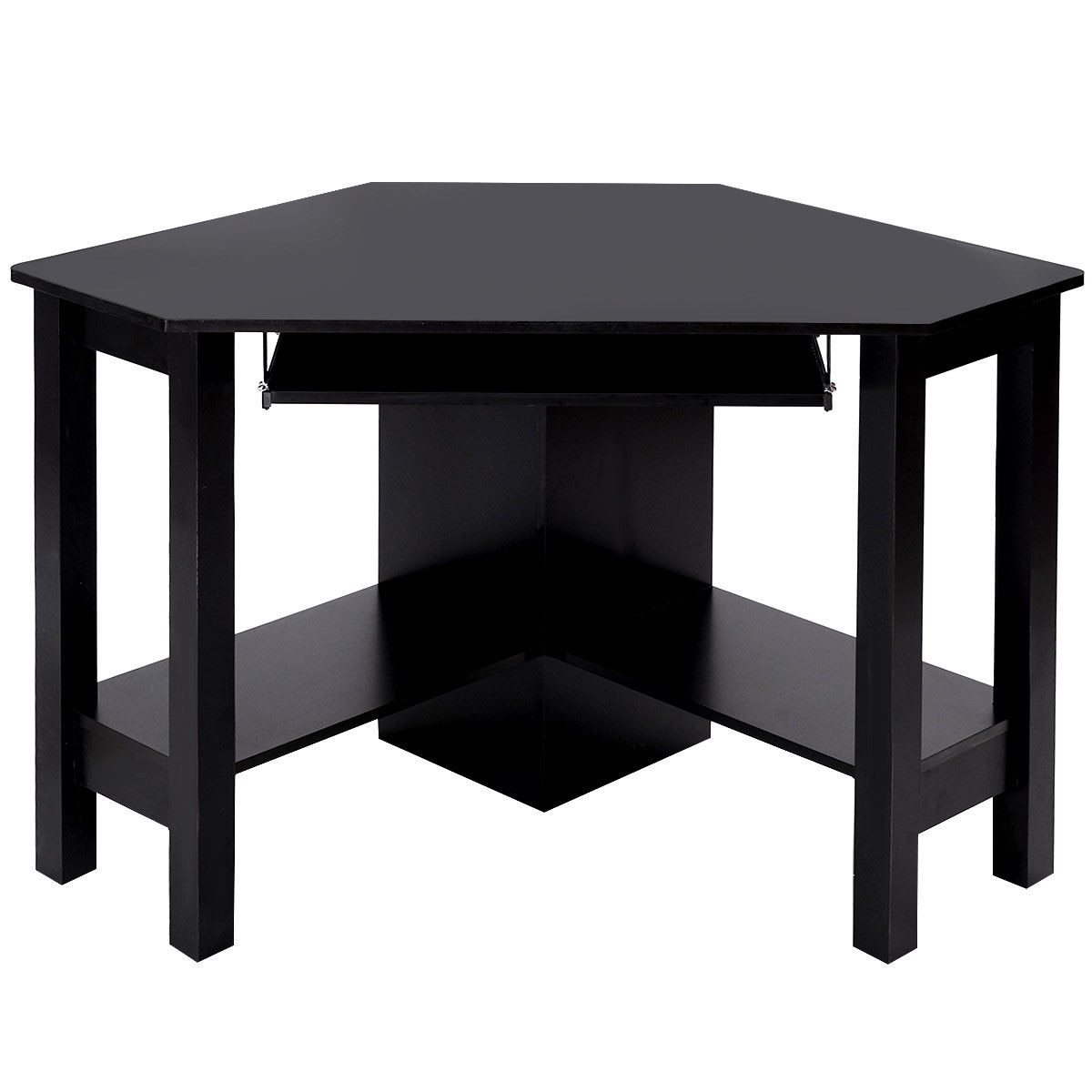 Black Modern Wooden Corner Desk