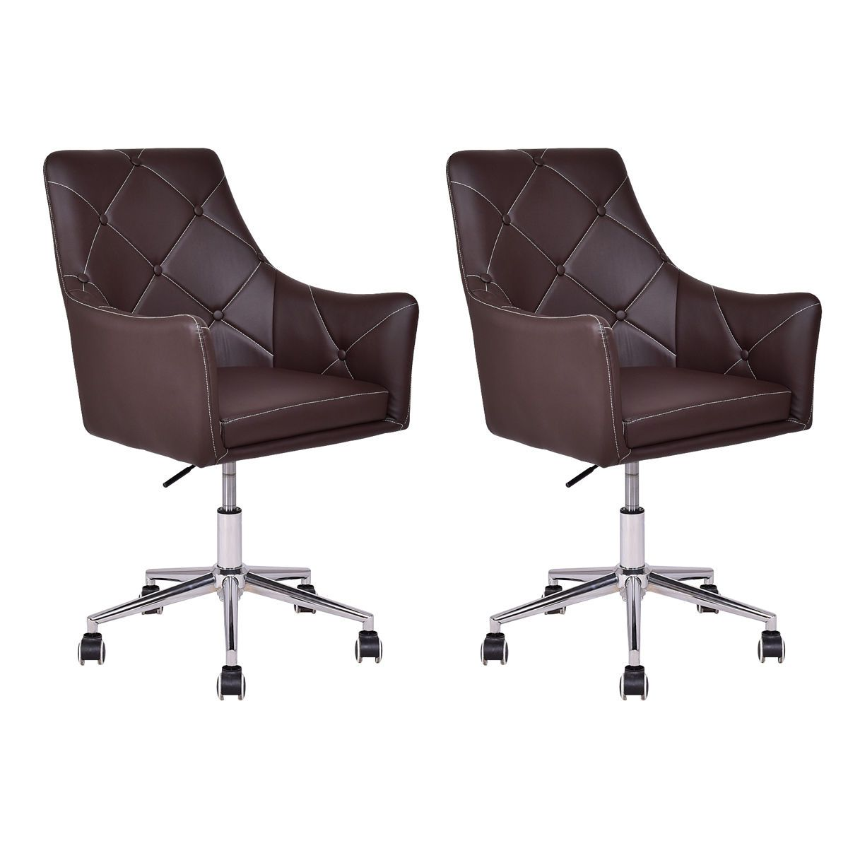 2 Piece Modern Tufted PU Leather Swivel Chair