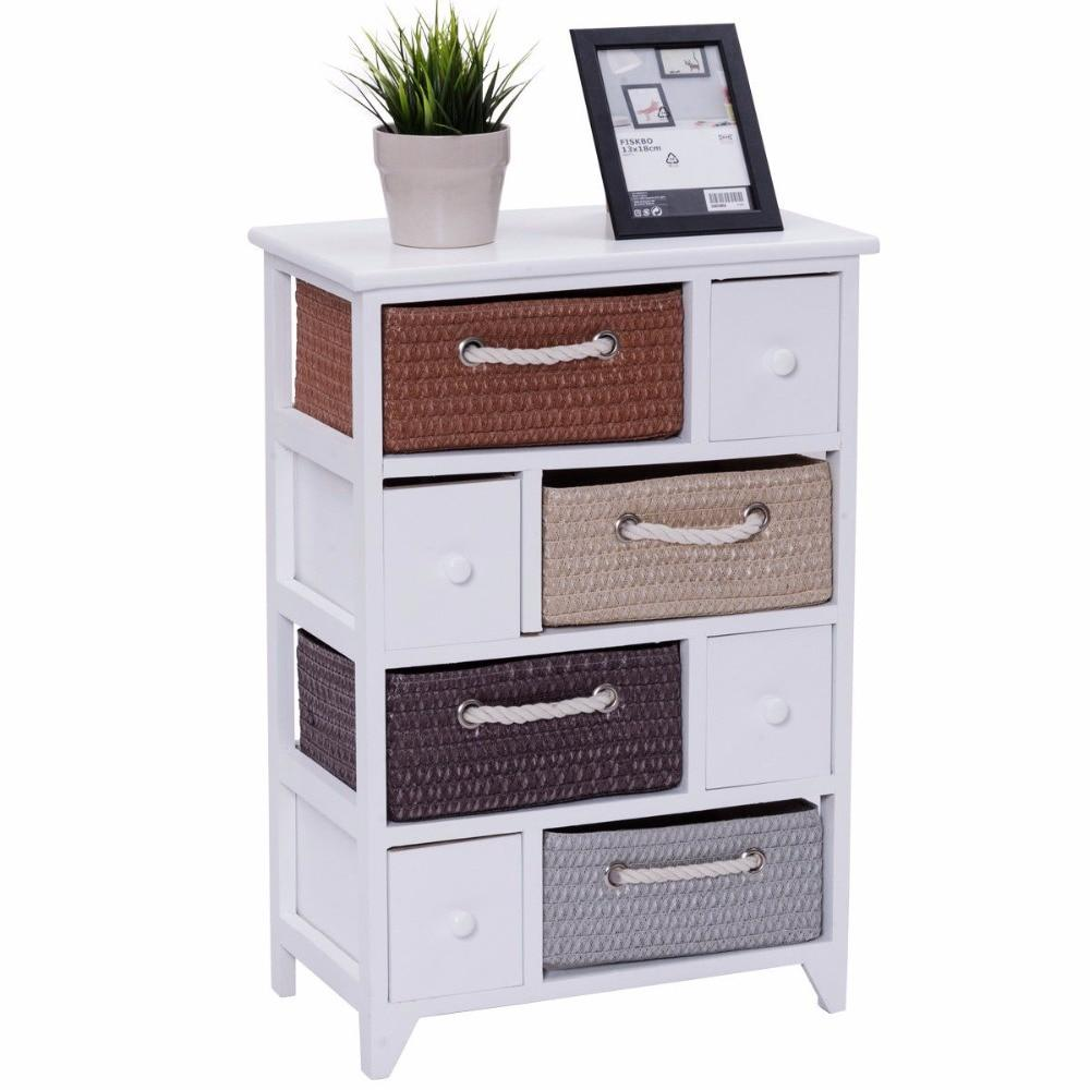 4 Woven Drawer Basket Wood Cabinet Storage Unit