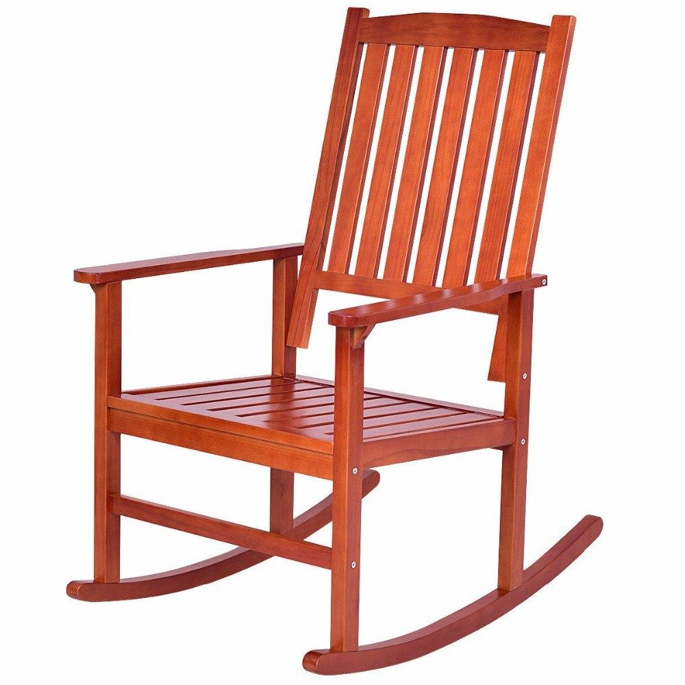 2 Piece Wood Porch or Patio Rocking Chair