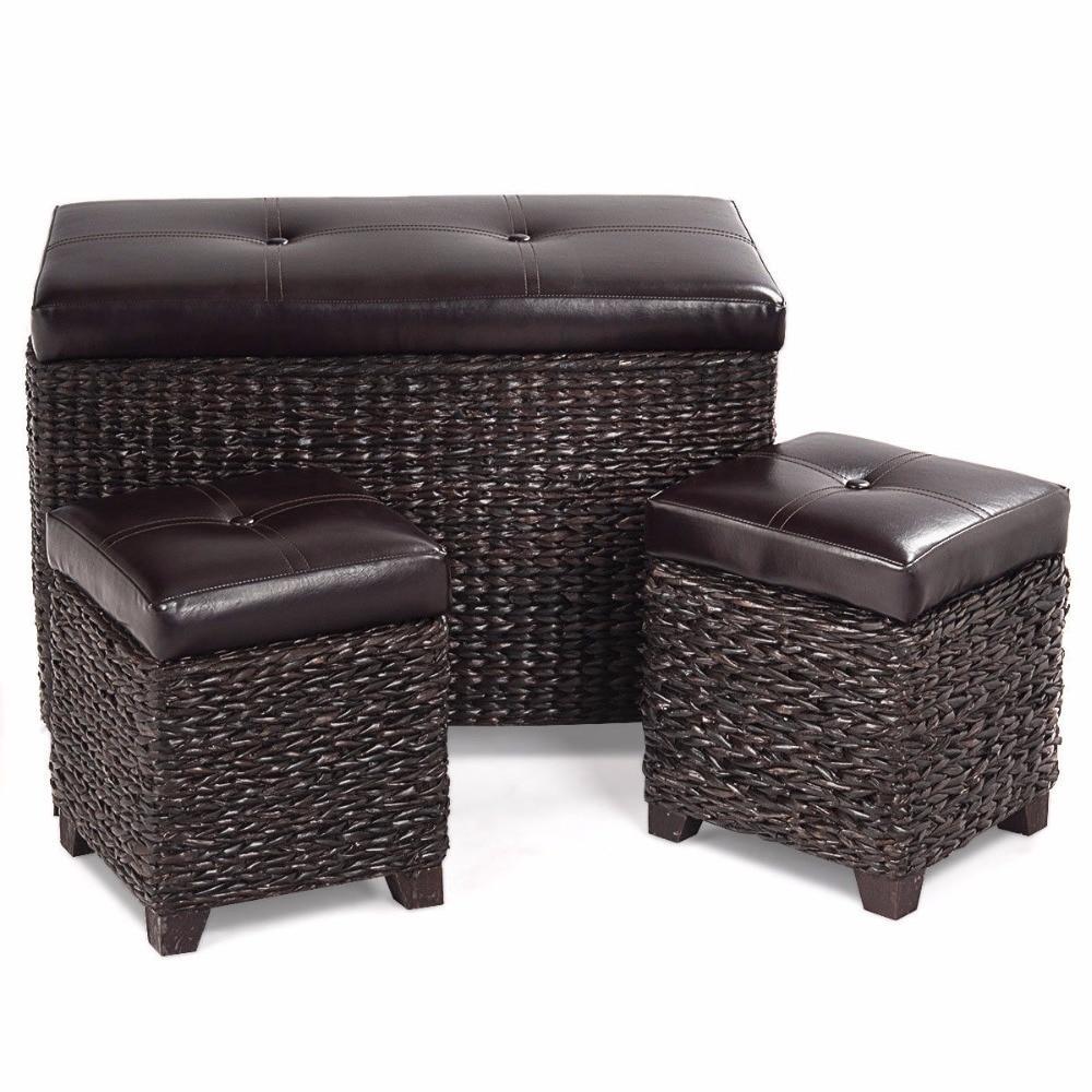 3-Piece Leather & Rattan Ottoman Set