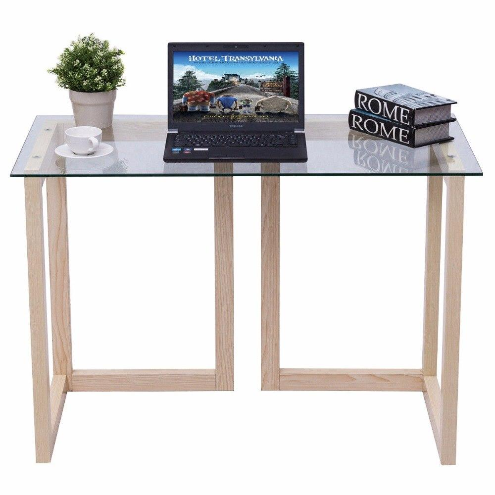 44″ Modern Glass & Wood Workstation