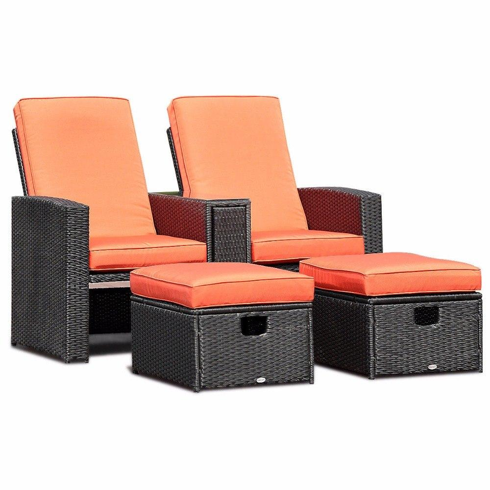 3 Piece Adjustable Backrest Recliner Ottoman Patio Furniture Set