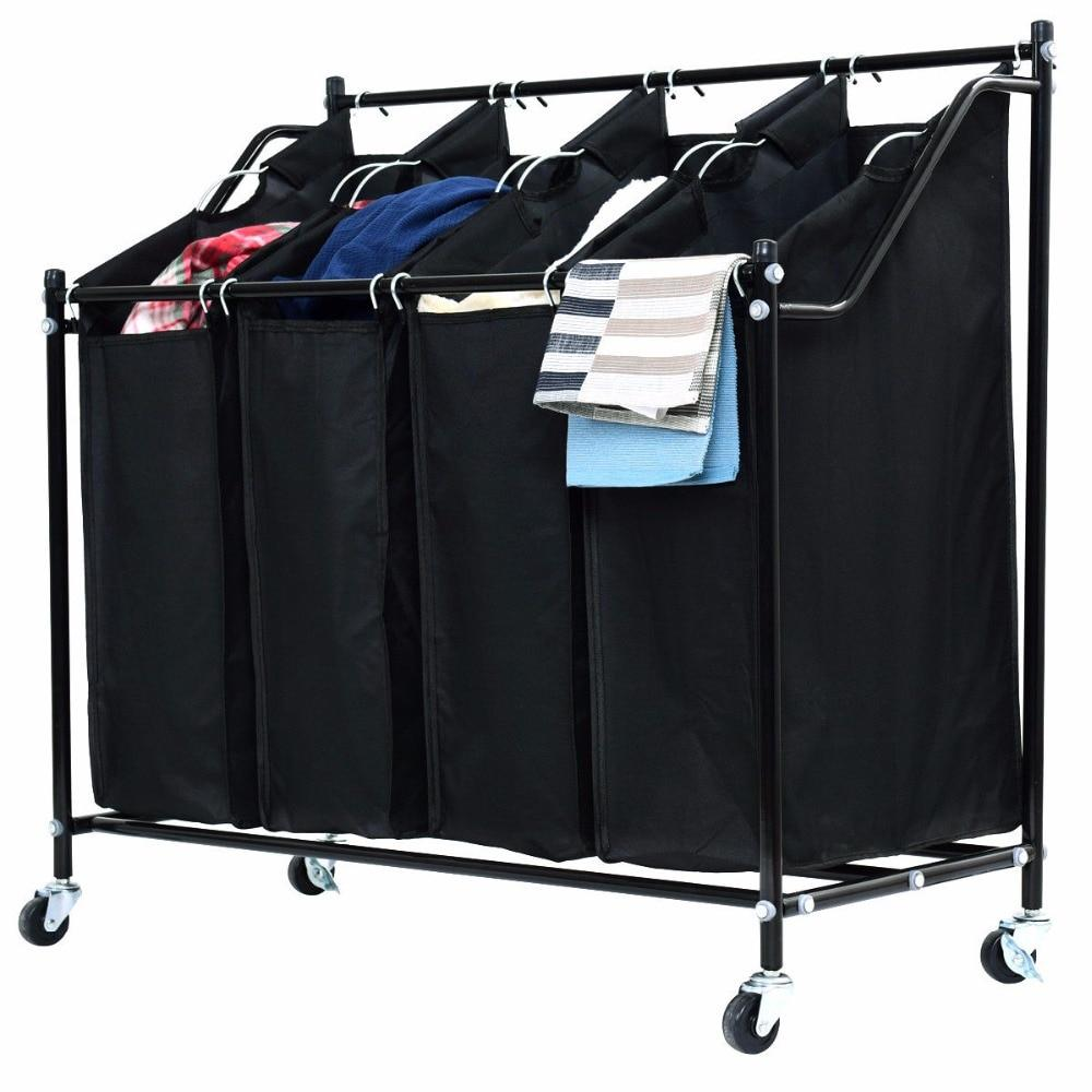4 Bag Rolling Laundry Hamper Cart