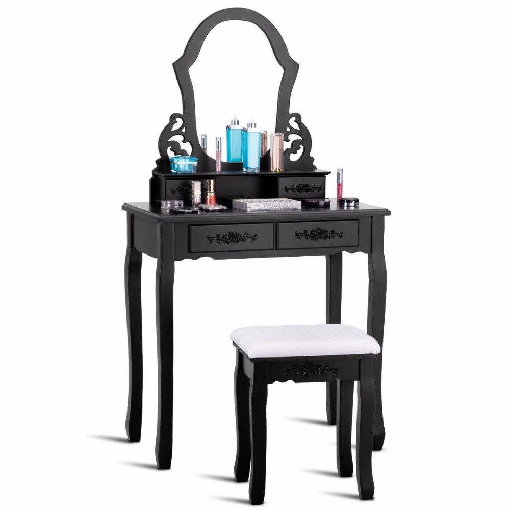 Black Makeup Vanity Table Set