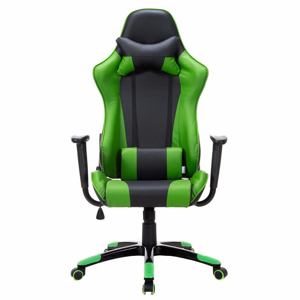 Black & Green PU Leather High Back Race Car Style Gaming Chair