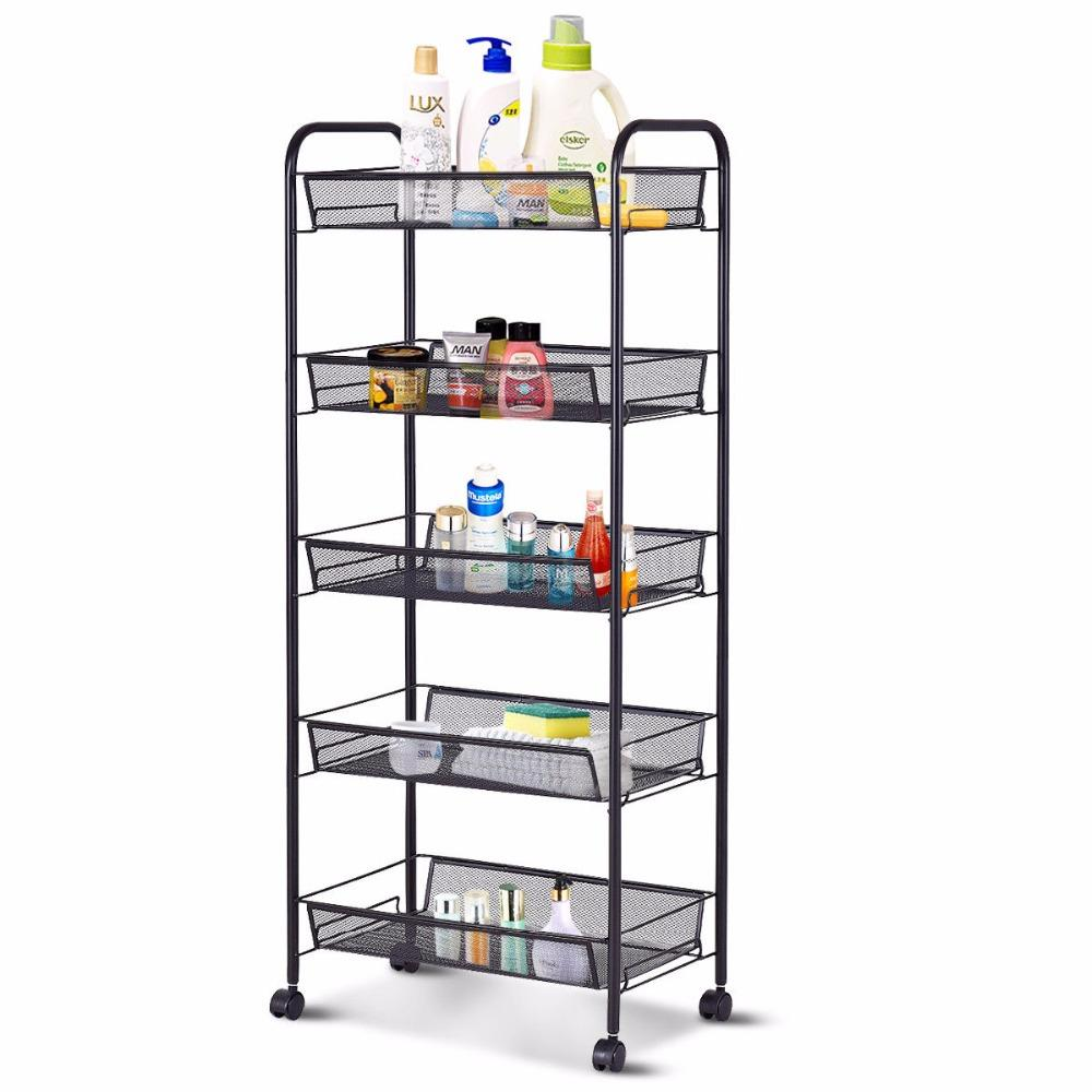 5 Tier Mesh Rolling File Utility Cart