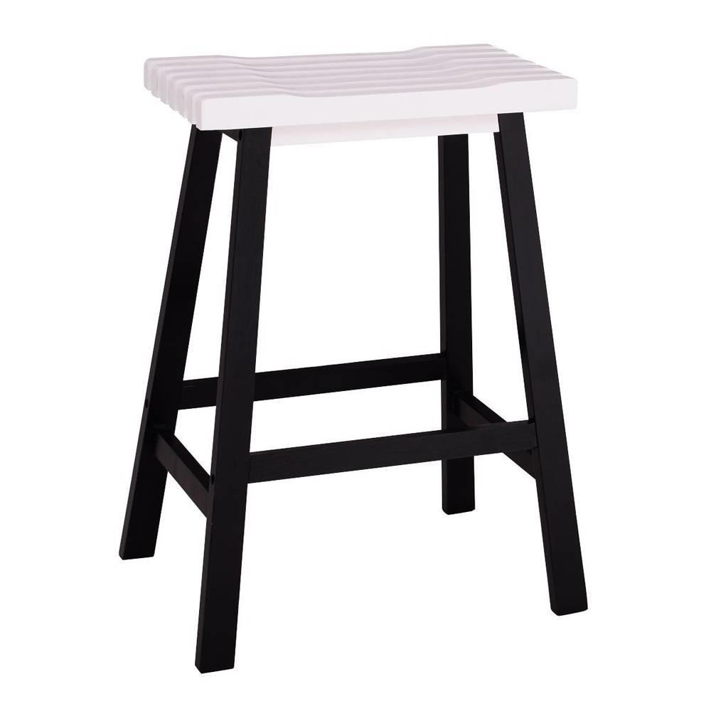 2 Piece 24″ Pine Wood Saddle Seat Bar Stool