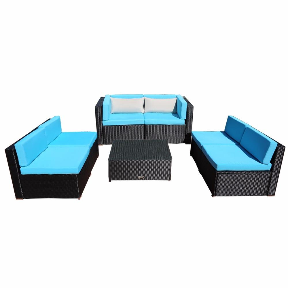 7 Piece PE Rattan Patio Garden Sofa Set With 2 Bolster Pillows and Table